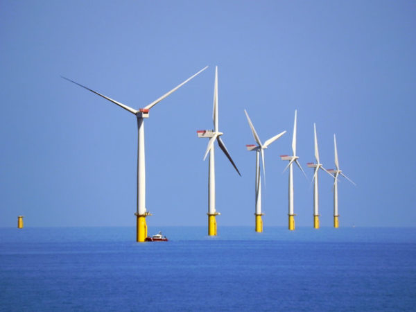 The UK's renewable sector is booming as oil and gas output declines. Image by David Dixon