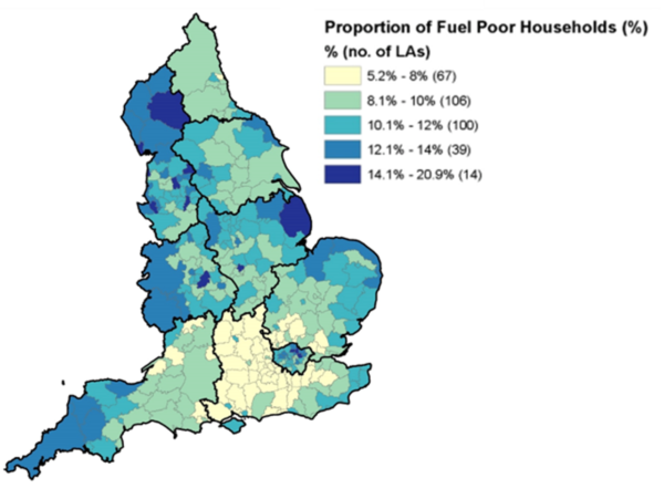 Colour graph plotting the proportion of Fuel Poor Households