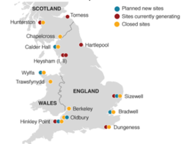 Locations of nuclear plants in the UK