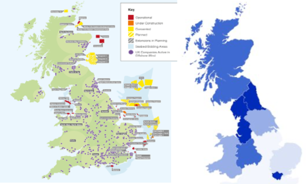 RenewableUK map of prospective and current offshore wind projects