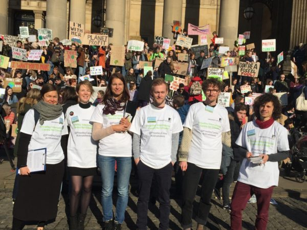 The Priestley team at a climate strike in Leeds.