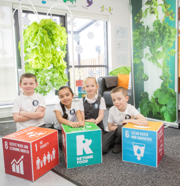 Children getting involved with the Rethink food project