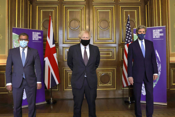 Alok Sharma, Boris Johnson & John Kerry, March 2021 (Picture by Pippa Fowles / No 10 Downing Street)
