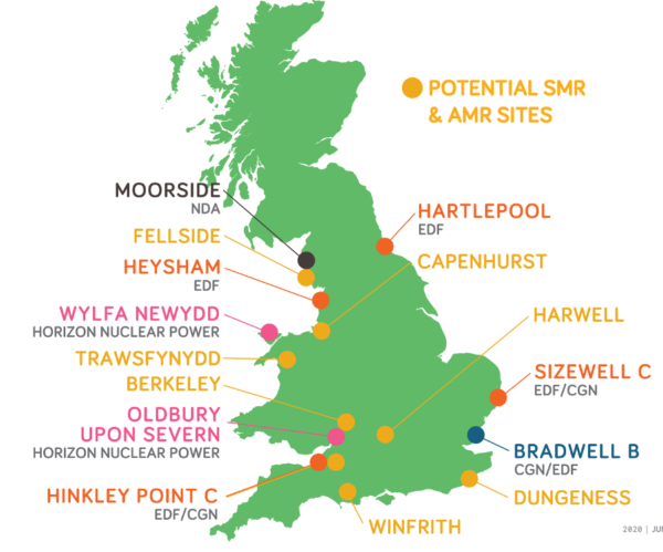 Locations of nuclear plants in the UK.