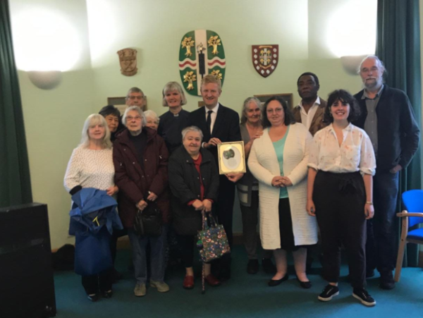 St Michael's and All Angels Church in Borehamwood, with their MP Oliver Dowden