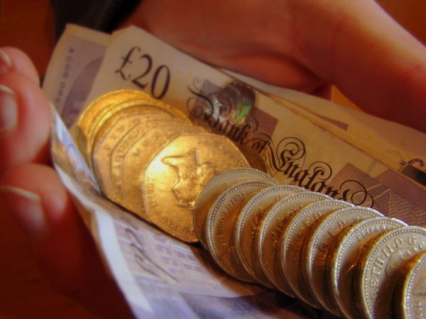 English pounds and notes