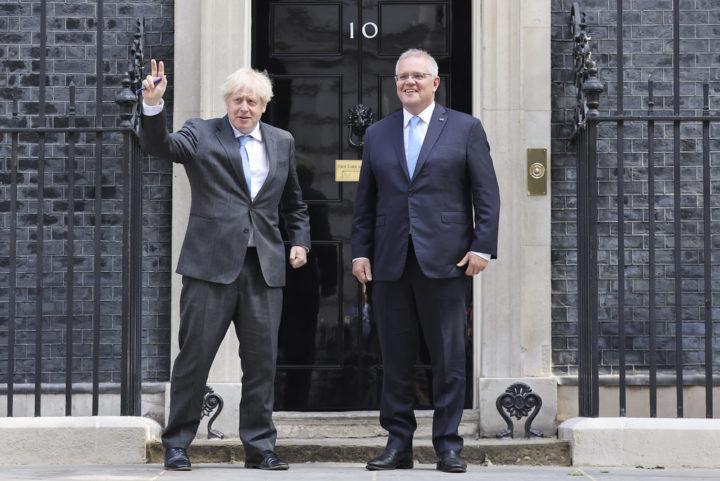 Boris Johnson & Scott Morrison in Downing Street   Picture by Tim Hammond / No 10 Downing Street   June 2021