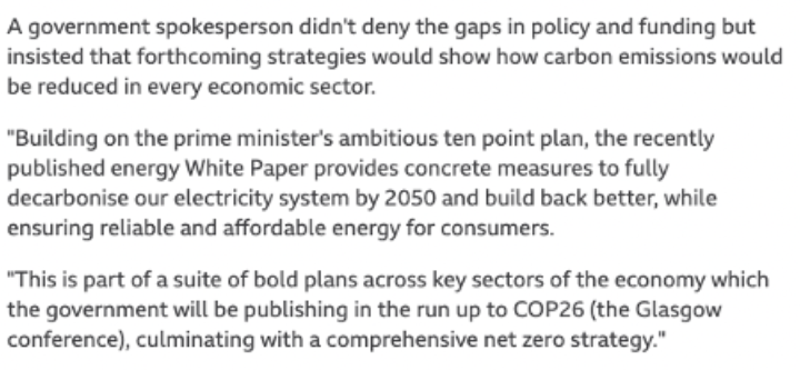 Government has pointed to decarbonisation strategies as places for answers. Source: BBC News