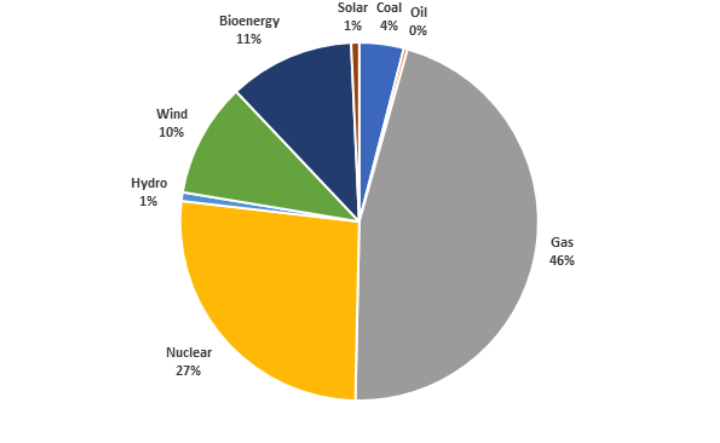 Fuels used in GB electricity generation 2019. Source: BEIS