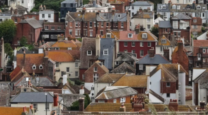 Aerial image of house close together in a uk seaside town