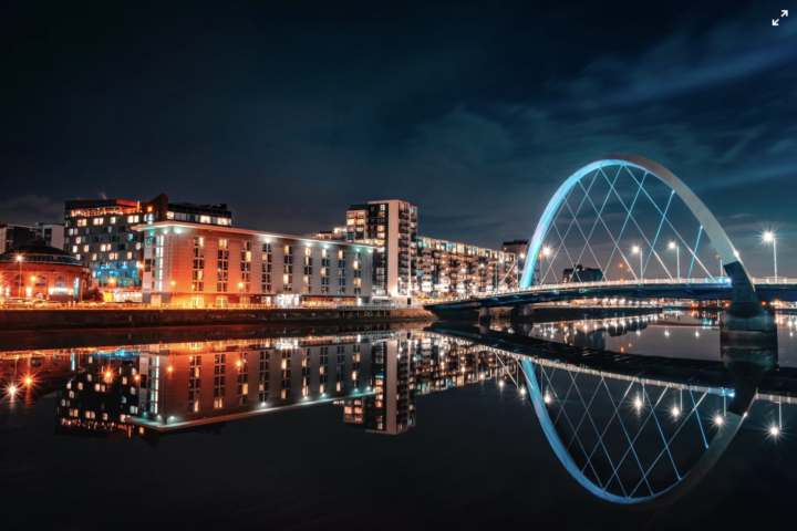 image of the glasgow science centre, which is next to the river in Glasgow.