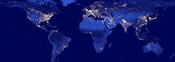 More and more of the world's lights are kept on by renewable electricity. Image: NASA
