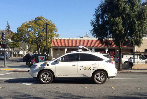 A Google self-driving car on the streets of Palo Alto, CA. Image: Ed and Eddie, creative commons licence