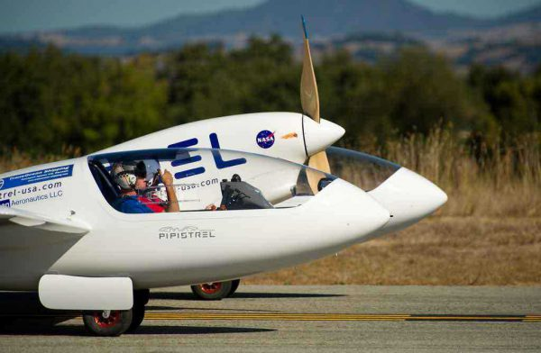 Electric plane taking off