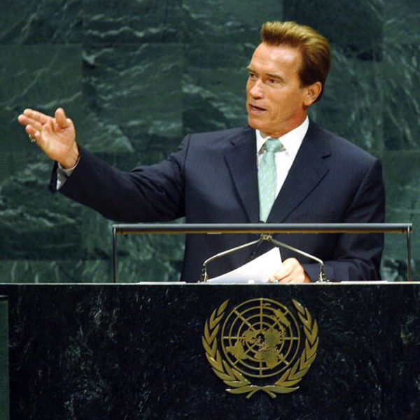 Arnold Schwarzenegger at a United Nations Conference