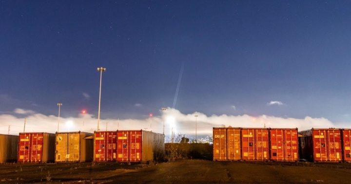 Containers and sky